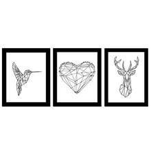Nordic! Pecker Reindeer Love Unframed Fashionable Simple Style Inkjet Oil Canvas Painting Ink Painting Poster Wall Art 3 Types(China)