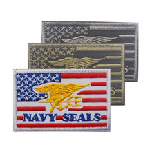 embroidery patches for clothes 5*8cm USA Flag of NAVY SEALS patches sewing clothing bags plastic washable Nation patches(China)