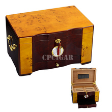 High-end Fashion Cedar Wooden Cigar Humidor Storage Box with Wood Tray Drawer Gilt Handrailing Built-in Hygrometer humidifier(China)