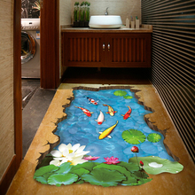 XH-9219 Fishes Water Pool Through The Floor Sticker Ome Decal Pastoral Mural Wall Art Pastoral Poster Bathroom 3D Floor Stickers