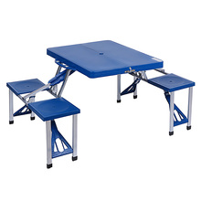 2016 High Quality ABS Folding Table Set Portable Outdoor Camp Suitcase Picnic Table 4 Seats Blue