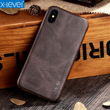 X-Level High Quality Vintage Luxury PU Leather Phone Cases For Apple IPhone X Free Shipping Cover Mobile Phone Accessories Case(China)