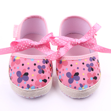 New Design Colorful Flowers Print Baby Girl Shoes Riband Fancy Toddler Princess Baby Girl First Walkers Shoes For 0-15 Months(China)
