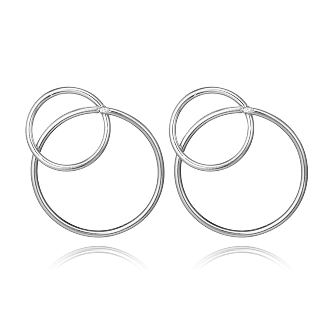 Vintage Geometric Double Circle Ear Stud Earring For WomenShellhard Fashion Jewelry Accessories Silver Gold Earring bijoux femme