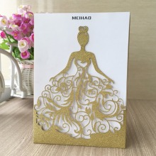12pcs Shinny giltter paper gold wedding invitation card chic laser cut Beautiful dress girl pretty bride design adult ceremony