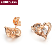 Buy ZHOUYANG AAA+ CZ Heart Rose Gold Color Stud Earrings Girl Wowen Jewelry Austrian Crystal Wholesale Top ZYE770 for $1.41 in AliExpress store