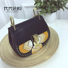 Women Vintage Leather Rivets Pig Messenger Bags louis Bags Chains Patchwork Lock Shoulder Bags michael cc Handbags sac a main