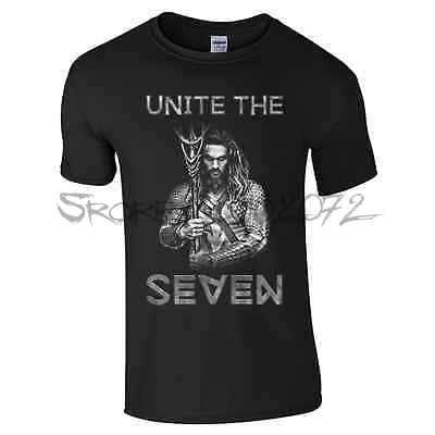 Unite The Seven T-Shirt - Aquaman Jason Momoa Superman v Batman Movie Mens Top(China (Mainland))