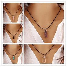 Buy Women Crystal Pillar Necklace Leather Chain Natural Stone Quartz White Bullet Pendant Choker Necklaces HexagonalColumn for $1.98 in AliExpress store
