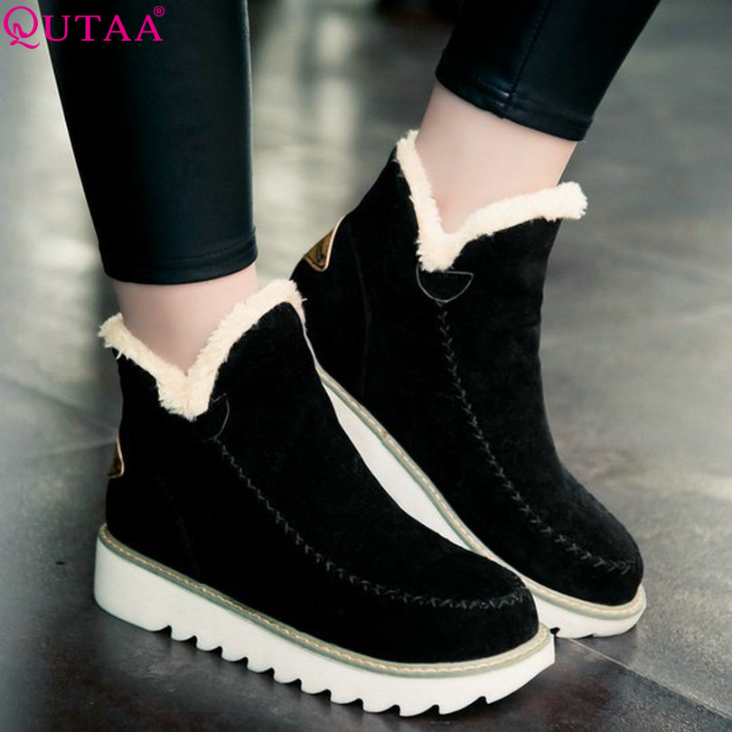 QUTAA Black Fashion Ladies Winter Shoes Flat Heel Round Toe Women Ankle Boots Slip On Woman Snow Boots Size 34-43<br><br>Aliexpress