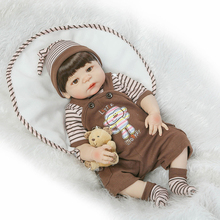 "22"" full body silicone reborn baby boy dolls brown hair wig magnetic mouth fashion dolls for kids gift bebe alive bonecas reborn"