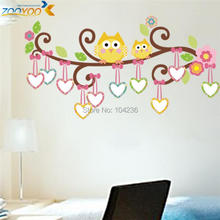 free shipping 2pcs 5% off owl wall decals for kids rooms zooyoo1007 diy pvc animal wall stickers baby room home decorations