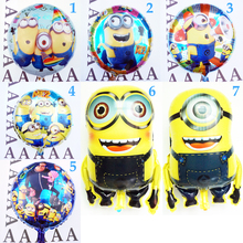 5pc minions mylar balloons for children happy birthday balloon for kind toy despicable me cartoon printer balloons free shipping