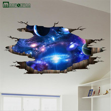 MARUOXUAN 3D Blue Universe Galaxy Planet Sticker Bedroom Living Room Ceiling Background Decorative Stickers PVC Wall Stickers