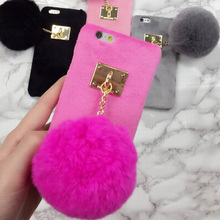 New Hot Plush Villose Hard Phone Back Cover With Luxury Rabbit Fur Ball Case For iPhone 7 For iPhone 6 6S 7 Plus Capa Fundas NEW