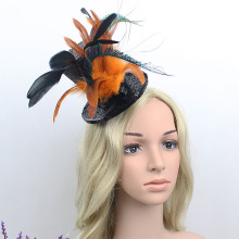 Retail Women Feather Head Hair Clip Mini Top Hat Fascinator Cocktail Wedding cap Free Mail
