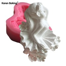 Flying Cute Angel Girl With Beautiful Dress 3D Silicone Cake Mold Fondant Cake Tools For Cupcake C512