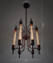 Free Shipping Edison Bulbs Flute Classical Nostalgic Punk Steam Industrial Pendant Lights Vintage Art Erect Suspension 6 lights