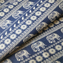 FD4984 new Elephant Printed 58 Wide Linen Fabric Sewing Craft Material 1 Yard(China)