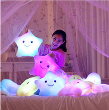 Luminous Juguetes Star Glowing Pillow New Year Toys For Children Led Light Plush Cushion Star Pillow Kids Toys For Girls(China)