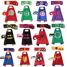 Superhero capes cape+mask+armband+waistband set - kids batman spiderman Hulk Thor robin capes cuff with belt for party cosplay(China)