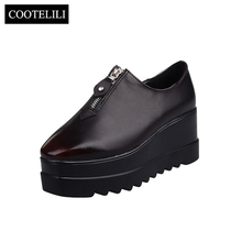 COOTELILI Women Platform Shoes Woman Casual Wedges zipper Pumps Square toe British Style Red Creepers Zapatos Mujer Size 35-39(China)