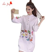 2017 Female Bloused Clothes Stand Collor White Long Sleeve Shirts Women's 3D Butterfly Chic Clothings Female Embroidery Blouses(China)