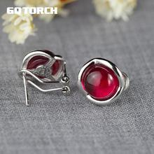 GQTORCH 925 Sterling Silver Clip Earrings For Women Natural Gemstone Garnet Ruby Red White Opal Green Agate Fine Jewelry(China)