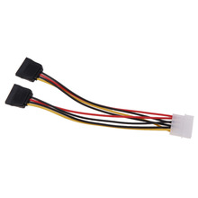 4Pin IDE to 2 Serial ATA SATA Y Splitter Hard Drive Power Adapter Cable 1x4 pin power connector to 2x15 pin power connectors