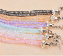 Crystal Bling Key Lanyard ID Badge Holders Mesh Yarn Mobile Neck Straps Creation Chain Bracelet 8 color