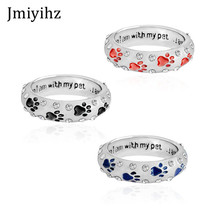 Jmiyihz Cute Crystal Dog Paw Rings For Women Party Gifts 3 Color Choose Dog Lover's Pet Memorial Pit Bull Rings DR17-01 US Size