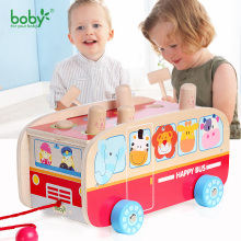 Baby toys for children car hot wheels kids pull along bus with hammer game christmas gift for child
