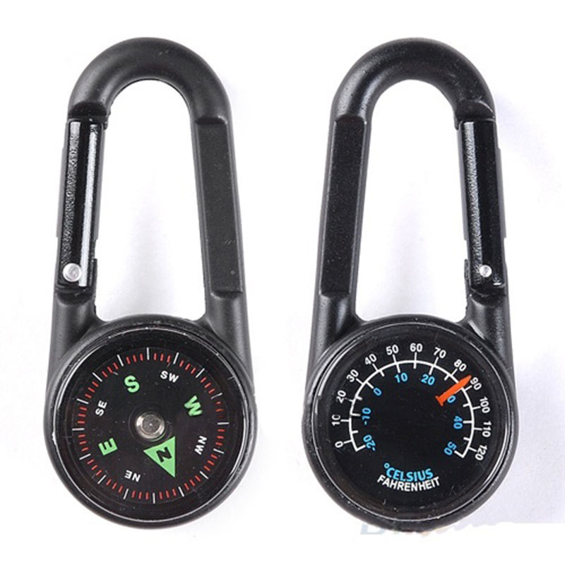 Multifunctional Mini Compass Thermometer Key chain Carabiner Clip Snap Hook Outdoor Camping Tool Hiking Goods Tourism Equipment (9)