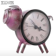 Tooarts Piggy Clock Handmade Vintage Metal Cat Figurine Mute Table Clock Practical Clock One AA Battery Decorative Clock Animal