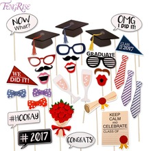 FENGRISE Graduation Party 29pcs Photo booth Props Bachelor Hat Cap Certificate Photobooth Graduate Party Decoration Supplies