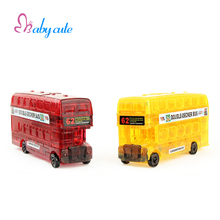 Crystal Puzzle Double-Decker Bus Toy Kids Plastic Puzzle Jouet Baby Early Educational Puzzle Toy Classic Game DIY Gift For Child