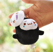Super CUTE Little 10CM BLACK MASK BAG Key Chain Pendant Plush DOLL , Little Mask Stuffed Toy Kid's Party Gift Plush Toys(China)