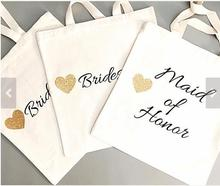 Glitter set of 4 Bridesmaid tote bags Personalized names Champagne Party wedding gift Bags Bachelorette bridal shower favors