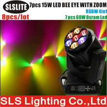 8pcs/lot 2017 new product 7x15w led rgbw bee eyes moving head light/b eyes zoomer Zoom Function 7X15W Beam Wash Light 4in1