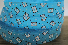 "hot sale 50yards 1""25mm  blue envelope and white black love heart Print Grosgrain Ribbon"