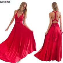 Womdee Sexy Boho Maxi Club Dress women Red Bandage Long Dress Multiway Party Bridesmaids Convertible Robe Longue Femme 2017