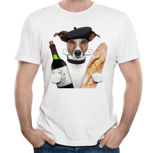 Cartoon Dog Red wine bread Cotton Printing O-Neck Men's Chemise Cartoon Die Dye Breathable Short Sleeves T Shirts(China)
