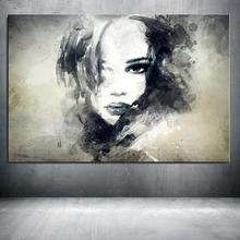 black and white Painting in water colours Figure Painting Abstract Home decor Frameless Spray Oil Painting Canvas drawing