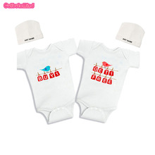 Culbutomind Buy one get one free-Birds twin funny infant romper creeper Twins Infant One piece Body SuitTwins ClothingCustom Cap(China)