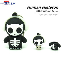 new black human skeleton usb flash drive disk memory stick pendrive Pen drive personalized 4GB 8GB 16GB 32GB mini Halloween gift