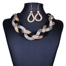 Dubai African Mysterious Charming Necklace earrings set Fashion Wedding Bridal Costume Jewelry Sets(China)