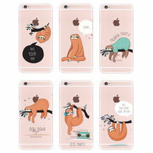 For iPhone 6S 6Plus 7Plus 7 8 8Plus X Samsung Galaxy Sloth Cute Animals Soft Silicon Transparent Printed Phone Case(China)
