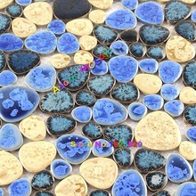 Pool Tiles Blue Swimming Floor Mosaic Tile Yellow Bathroom Wall Ceramic Glazed Shower Floor Design Sheets(China)