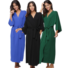 Women's Cotton Long Kimono Robe Sexy Party Wedding Bride Bridesmaids Robes Ladies Modal Black Loungewear Nightgown Bathrobe(China)