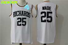 SexeMara Free Shipping Dwyane Wade #25 Richards White Retro Throwback Stitched Basketball Jersey Sewn Camisa Vintage Embroidery